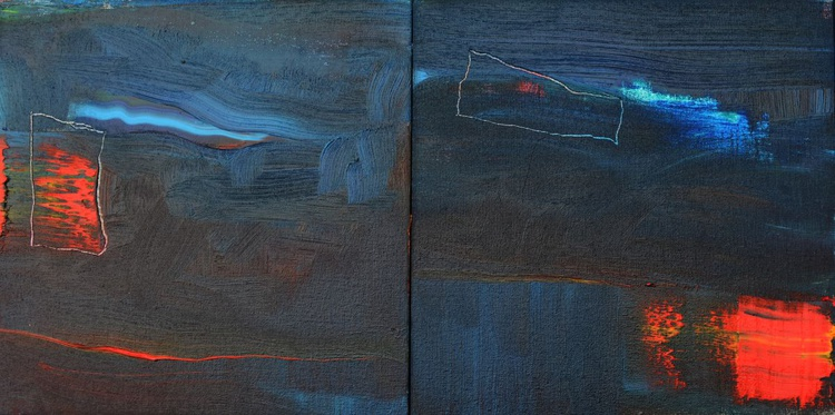 Abstract #139 - Blue Diptych - Image 0