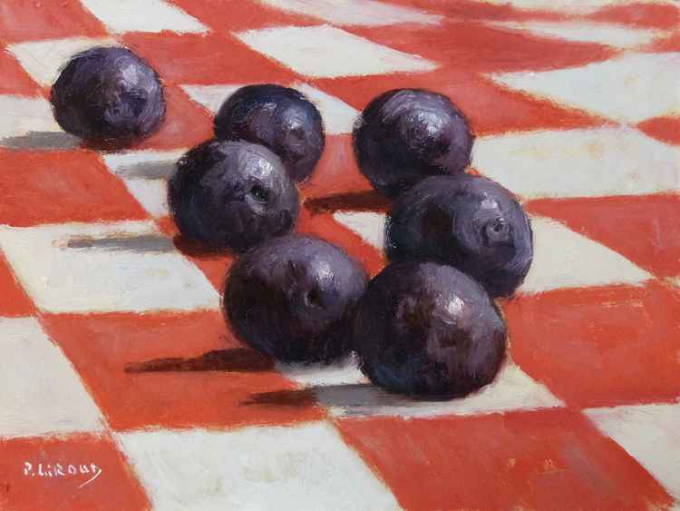 Plums on a Tablecloth -