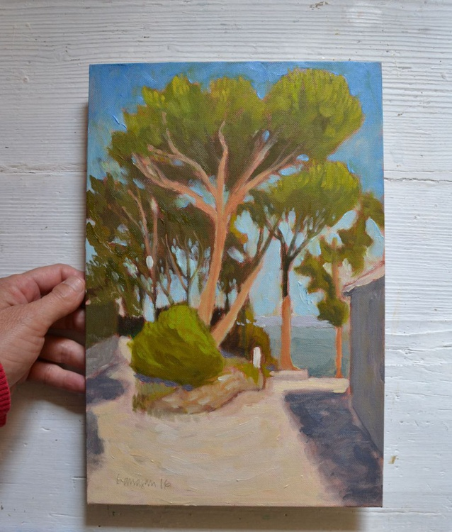 Below Montegiove Castle near Orvieto Italy Italian Plein Air Landscape Oil Painting - Image 0