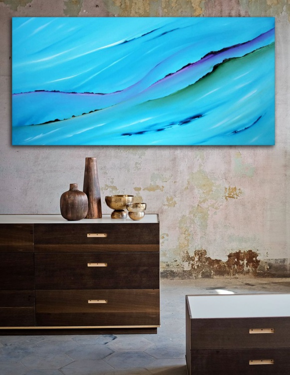 In the distance - Original abstract painting, oil on canvas - Image 0
