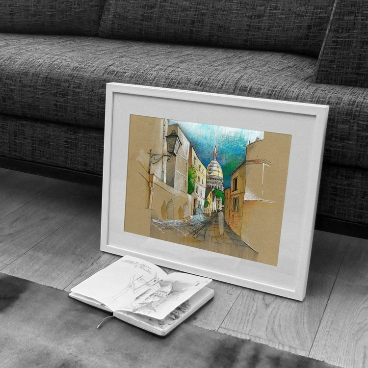 Paris, Rue Rustique, A3 mixed media drawing - Image 0