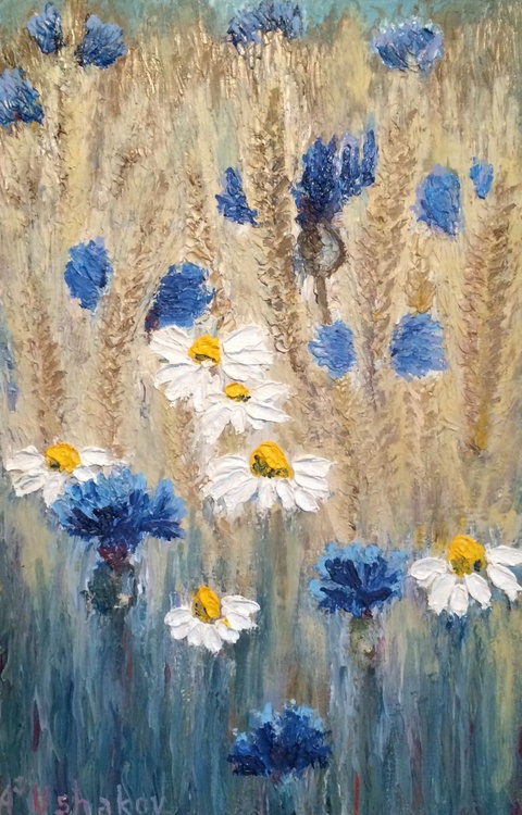 Cornflowers and daisies in the wheat field. Oil painting. - Image 0