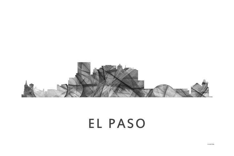 El Paso Texas Skyline WB BW -