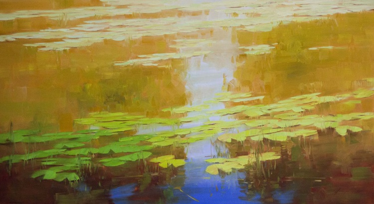 Water lilies  Autumn Palette Original oil Painting Large size Handmade artwork One of a Kind - Image 0