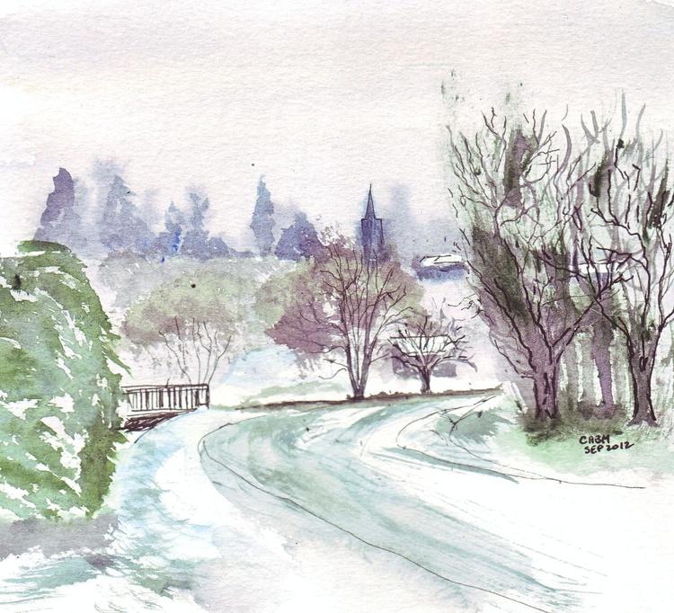 Snow-covered Monsegur, Gironde, SW France - Image 0