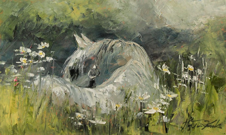Horse in the grass - Image 0