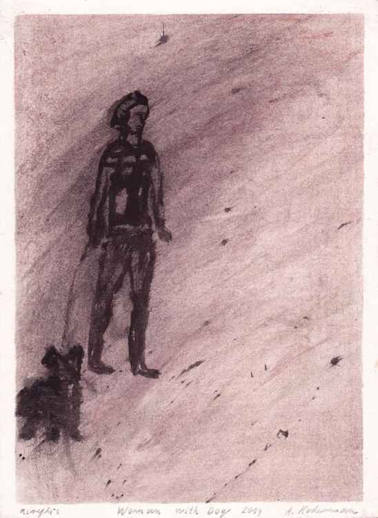 Woman with Dog, 2014_acrylic on paper, 26,9 x 19,7 cm