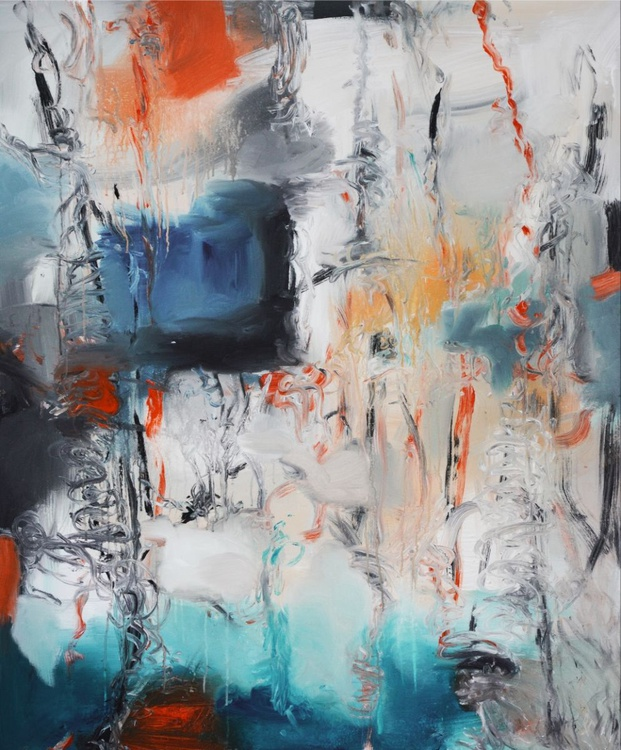 "Reef III,  48""x40"",Large Abstract Blue Painting,Original Blue Painting,red Blue Painting,Blue orange painting,orange blue abstract - Image 0"