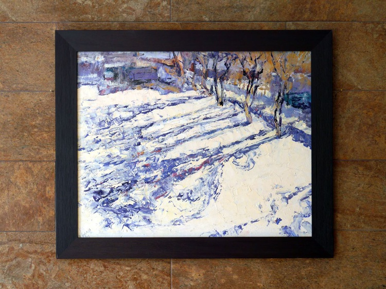 Winter, Shadows, Framed (palette knife) - Image 0