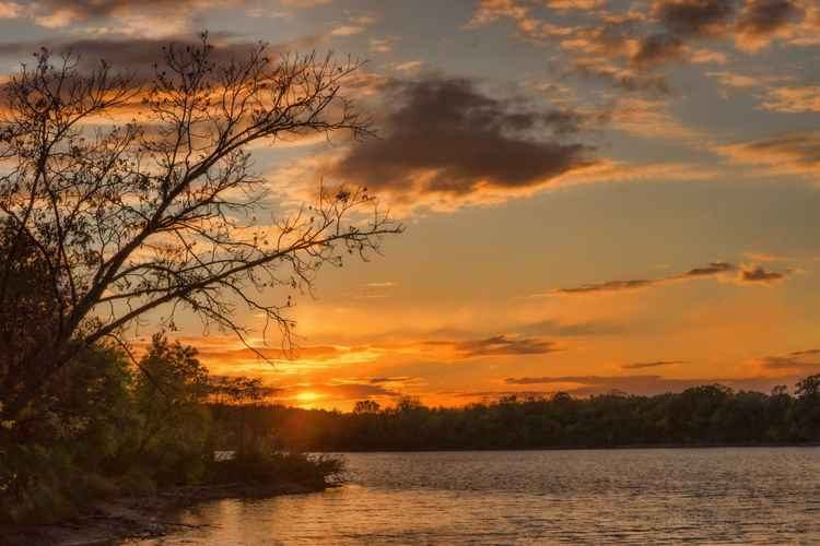 End of Day at a Prairie River -