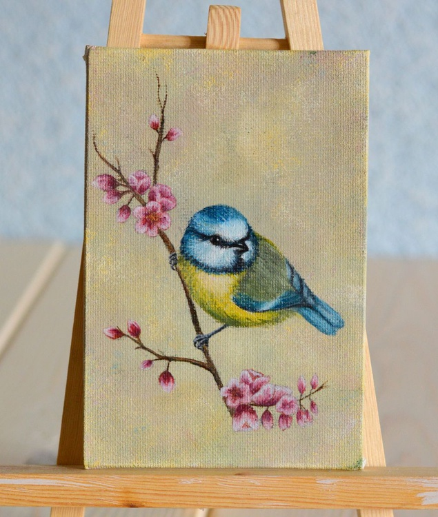 Miniature oil painting Bird on Branch Blue tit - Image 0