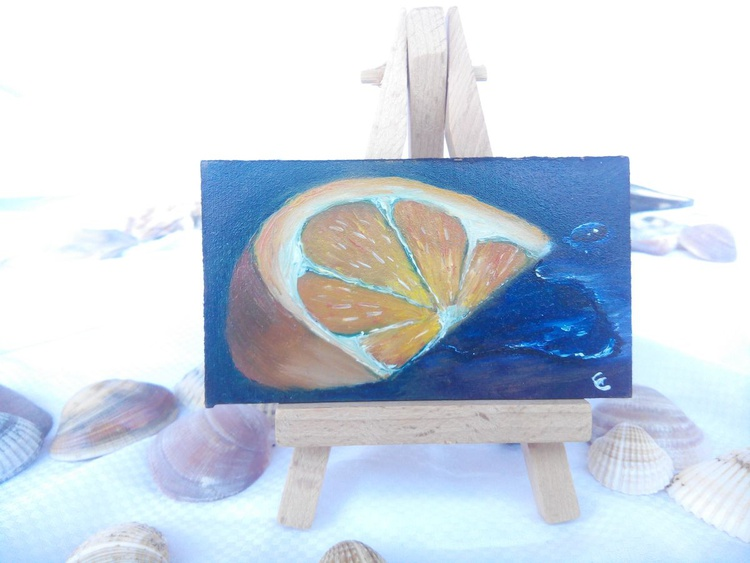 Left alone, miniature oil on board - Image 0