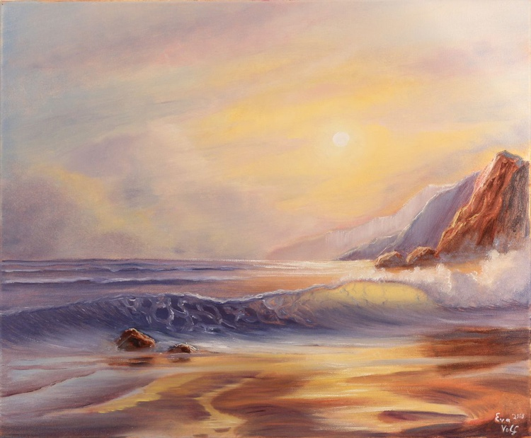 """Ocean Whispers, original seascape painting, oil on canvas 20x24"""" - Image 0"""