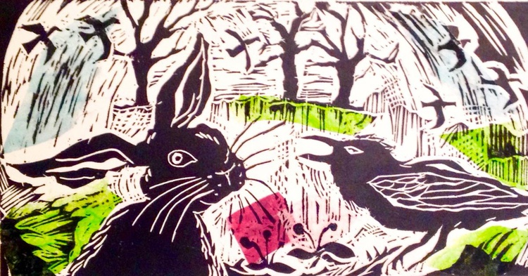 Hare and Crow:Tête-à-Tête (in colour), Handmade Linocut - Image 0