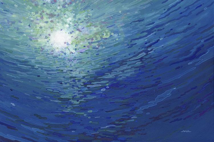 Deep Dive Nautical Underwater Marine Painting Framed - Image 0