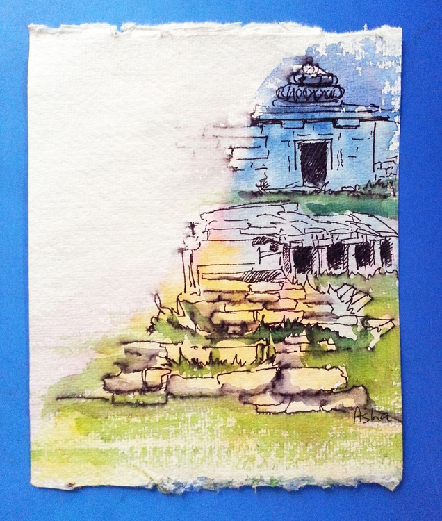 "The Ruins of Hampi - 6""x 4.75"" Ink and Wash - Image 0"