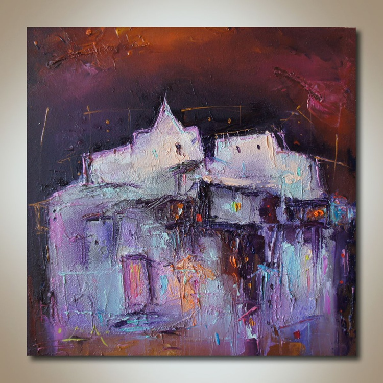 Fortress, Oil paintings, Mixed media, Contemporary art, free shipping - Image 0