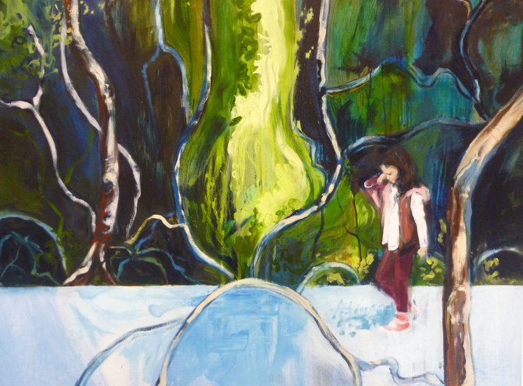 Girl in a Mangrove forest (LARGE painting - 104 x 79cm) - Image 0