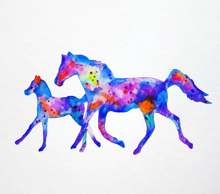 Horses, colorful - Image 0