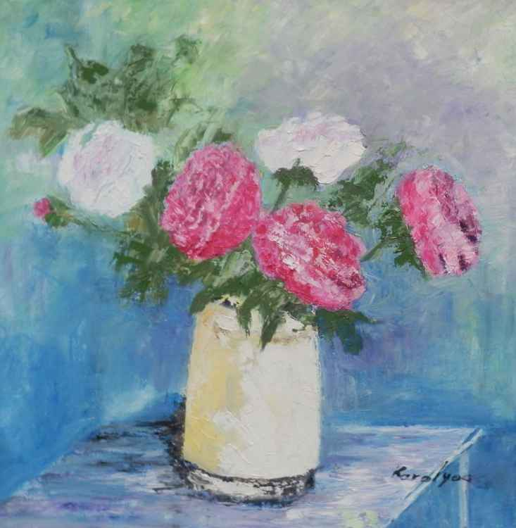 Peonies in white bowl -