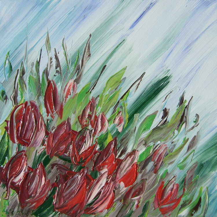 Red Tulips painting palette knife decor 29 original art ready to hang acrylic painting on stretched canvas wall art by artist Ksavera - Image 0