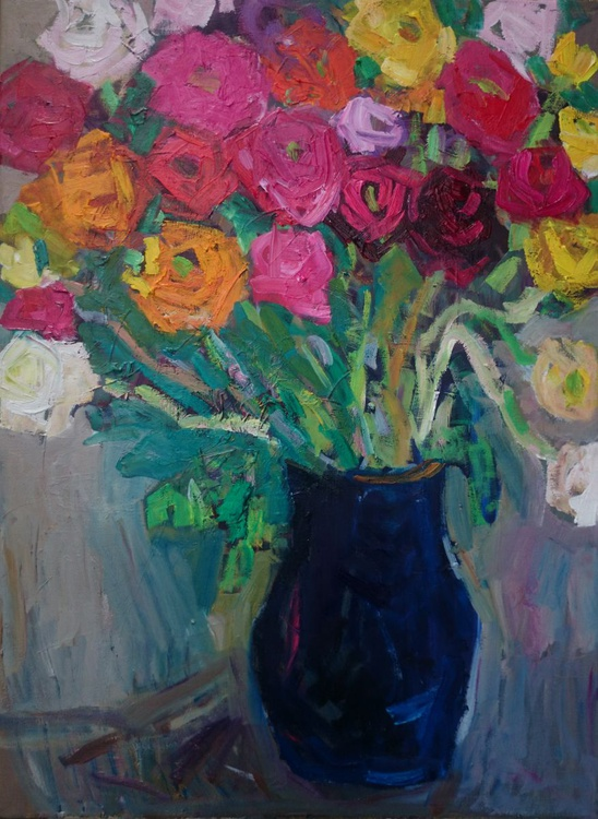 Bunch of flowers in the blue jug - Image 0