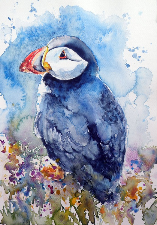 Puffin with flowers - Image 0