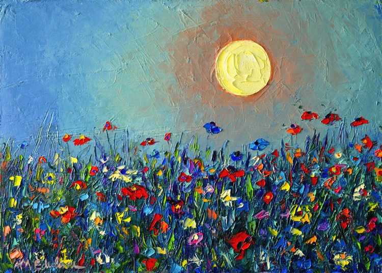 WILDFLOWERS MEADOW SONG - abstract landscape modern impressionist floral palette knife oil painting - Image 0