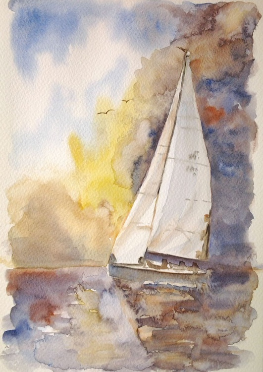 BIG SAIL, watercolour - Image 0