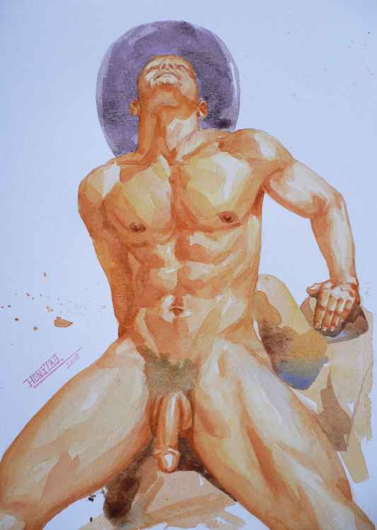 ORIGINAL CLASSICAL WATERCOLOUR  PAINTING ART MALE NUDE  COWBOY MEN  ON PAPER#11-14-011 -