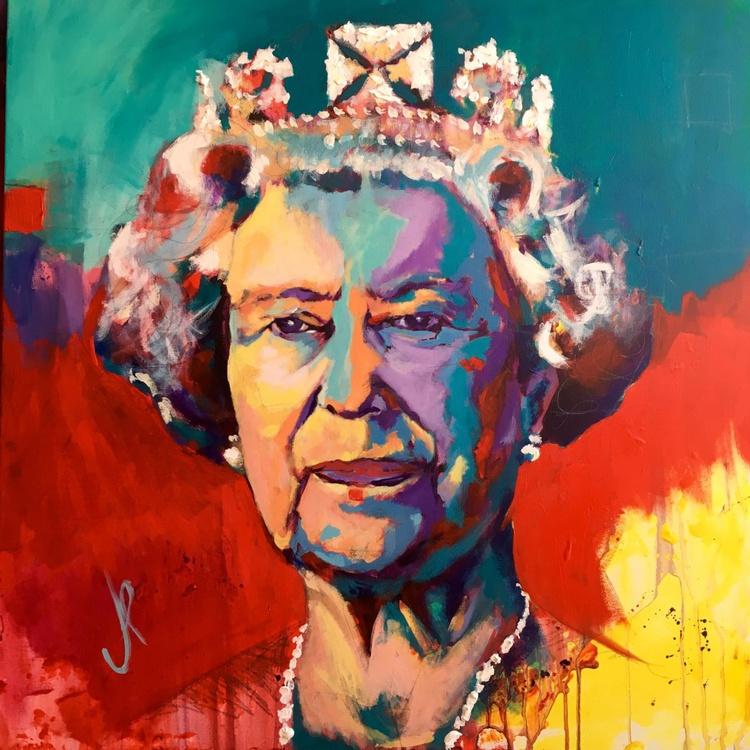 Queen Elisabeth II Acrylic on Canvas 80x80cm - Image 0