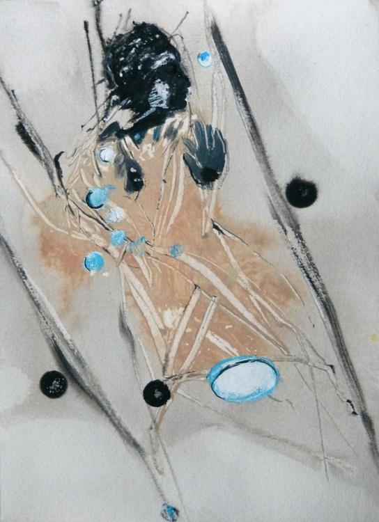 Modesty #12, Acrylic on paper 21x28 cm - Image 0