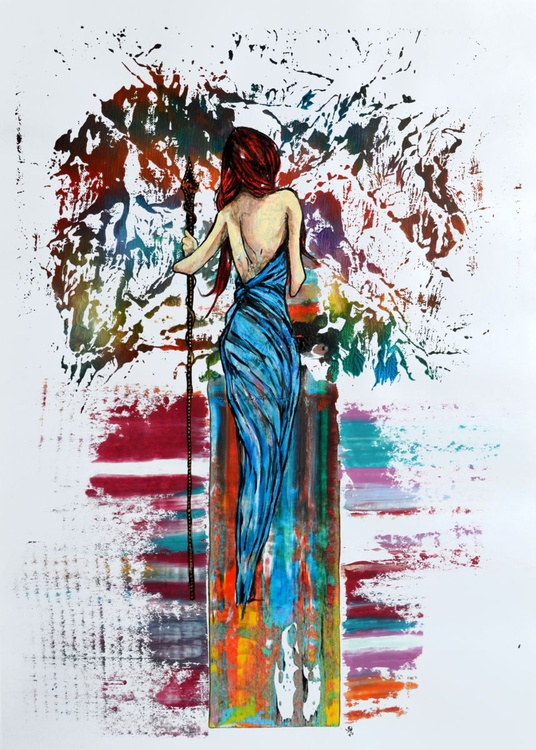 Women In Blue Dress - Acrylic Abstract Art Painting On A2 Paper - Image 0