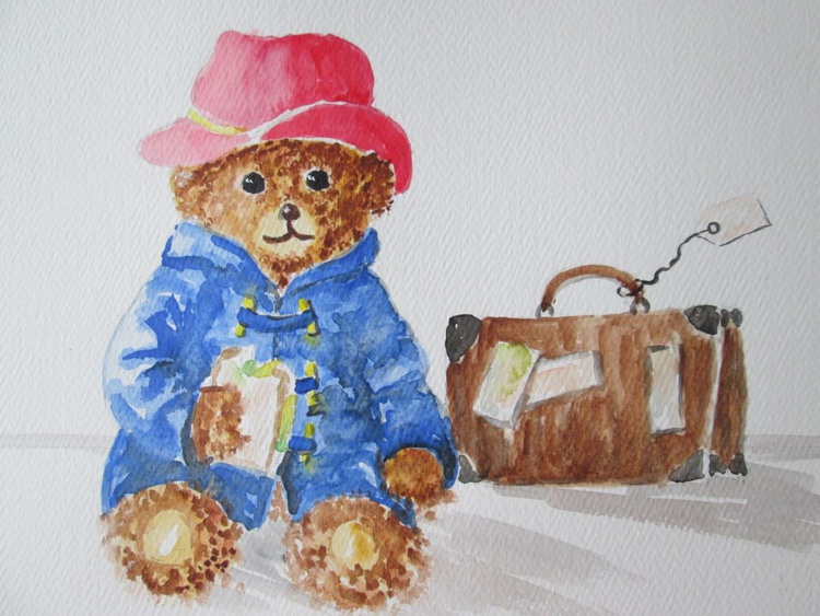 """""""BEAR ME IN MIND"""", Teddy Bear with sandwich, gift for children, original watercolour - Image 0"""