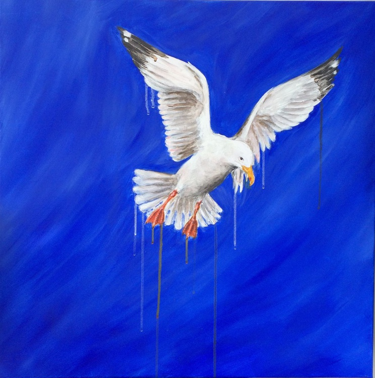 Seagull Flying on Blue - Image 0