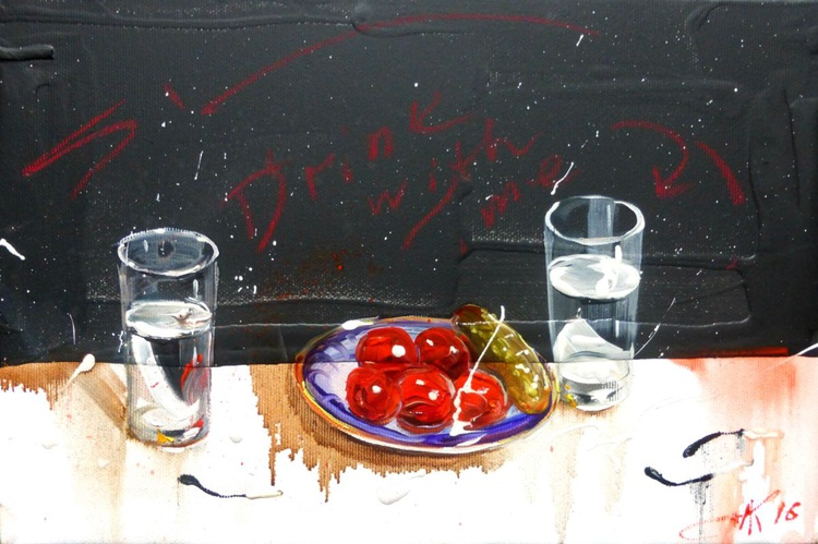 Drink with me... , oil painting 30x20 cm - Image 0