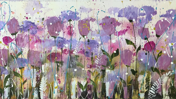 Magenta and lilac sparkle, large canvas - Image 0