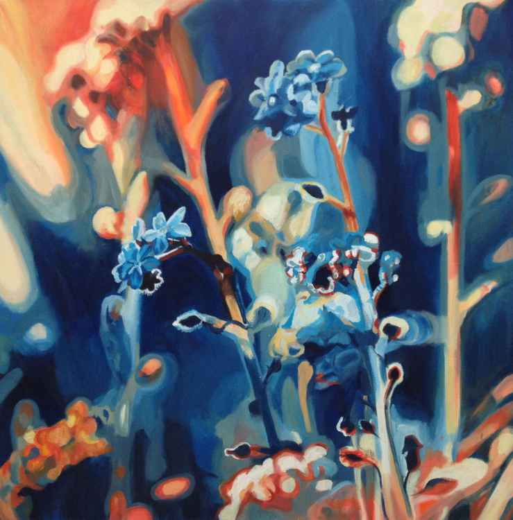 Flowers in Atmospheric Blue and Orange -