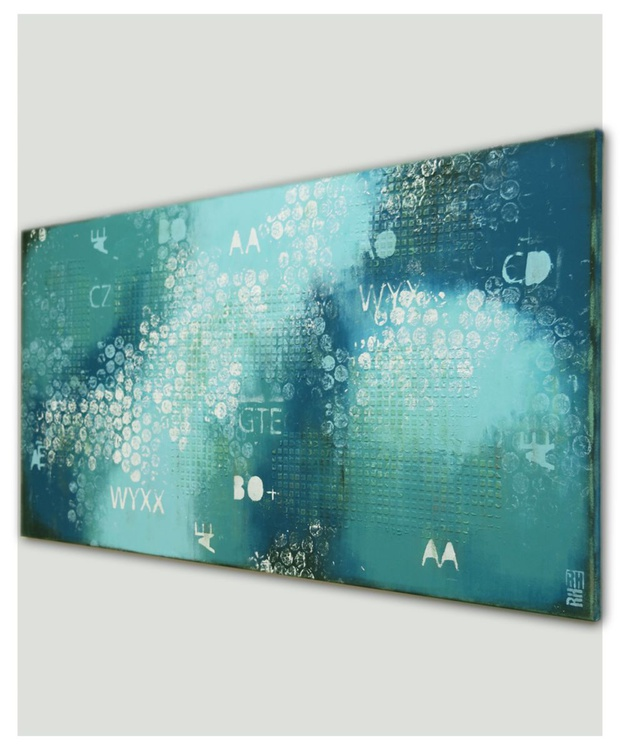 Abstract - Turquoise and Blue Typography - B24 - Image 0