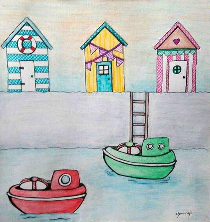 Toy boats and beach huts -