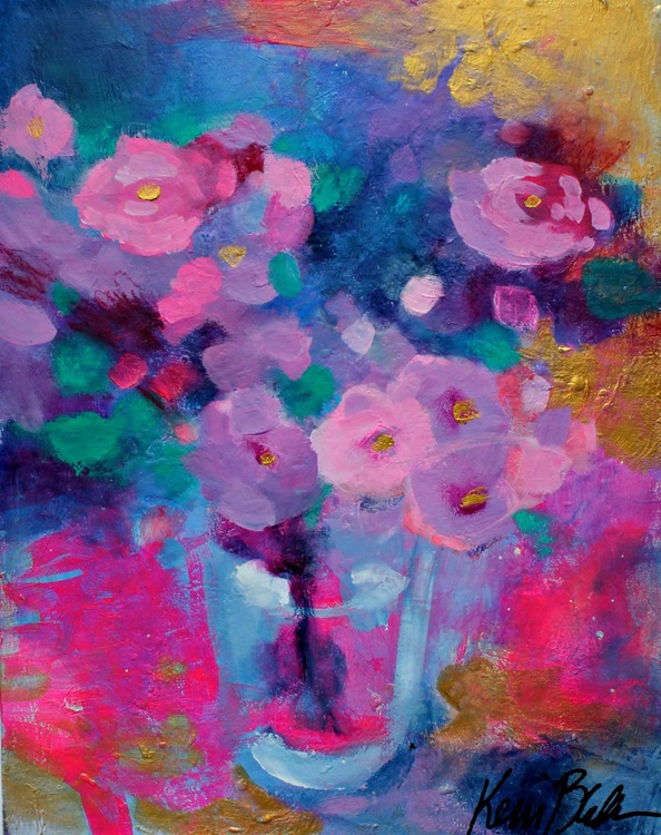 Pink Roses in a Blue Room - Image 0