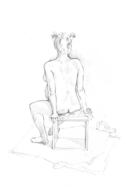 pregnant nude on a box, A3 Pencil drawing #07 - Image 0