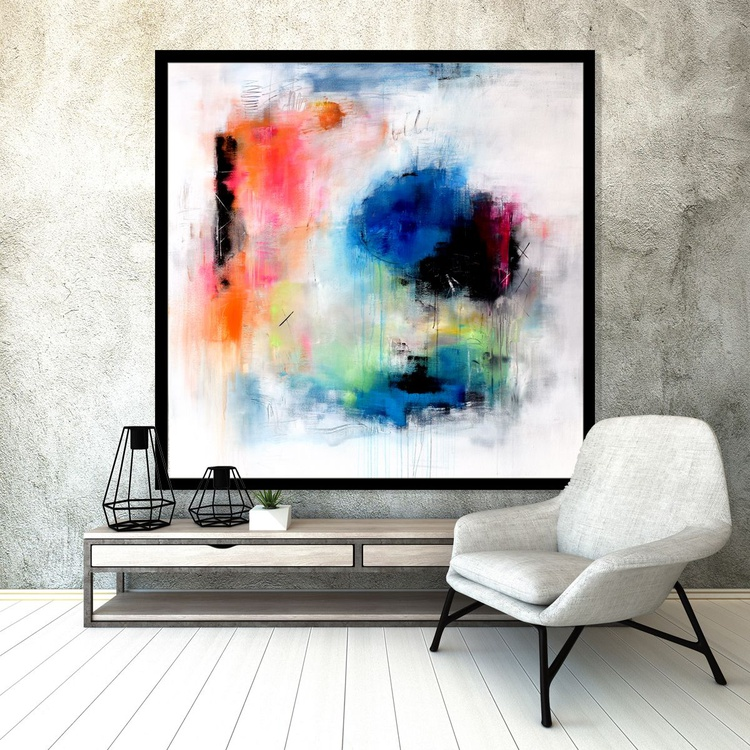 """Something's Gotta Give"" Abstract painting, 48x48 abstract contemporary painting green blue orange - Image 0"