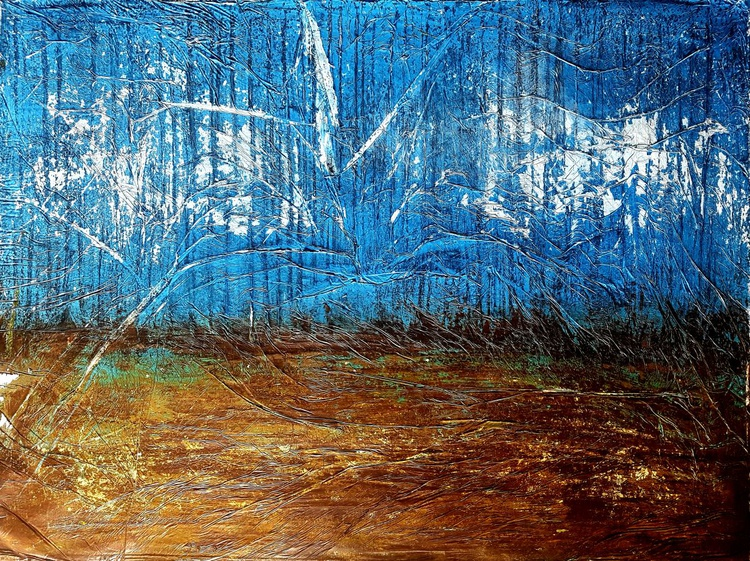 Brown ground (n.223) - abstract landscape - 80 x 60 x 2,50 cm - ready to hang - acrylic painting on stretched canvas - Image 0
