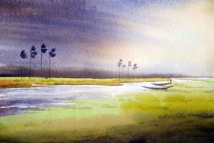 Monsoon Rural River - Watercolor painting