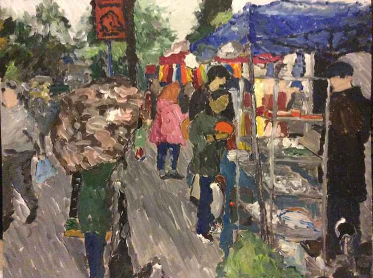 Study of Magdalen Market on a Rainy Day -