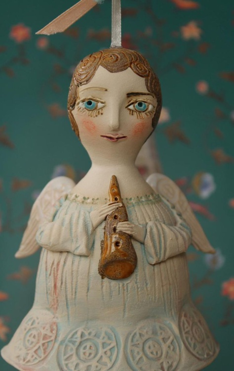 Angel with a flute. Bell-Doll, little ceramic sculpture. Hand made - Image 0