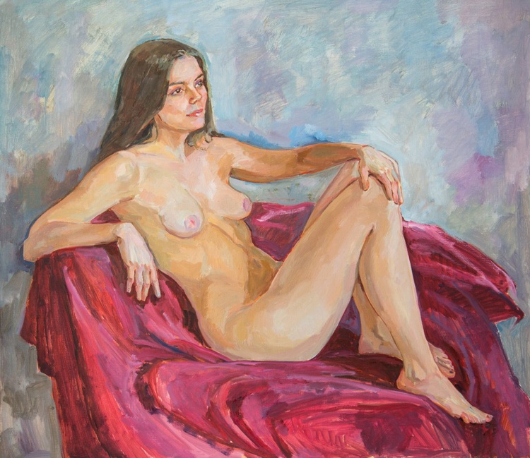 Nude girl on the red. - Image 0