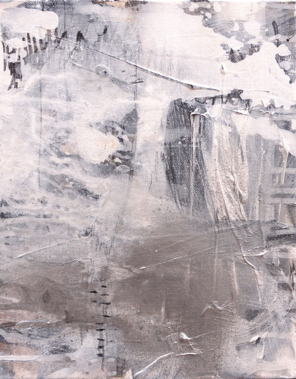 Silver Gleam (Silberglanz) #1   small abstract in white grey black silver   mixed media - Image 0