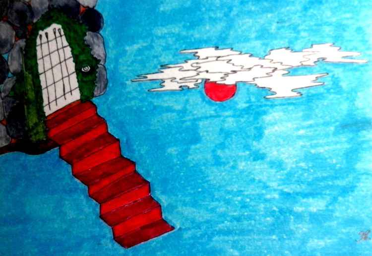 Red stairs will lead us to the Sky Country -